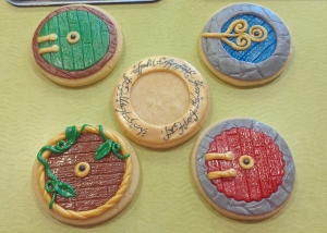 Lord of the Rings cookies included hobbit doors, swords and The One Ring. I think the cookie of the Ring was my absolute favorite out of all of them.